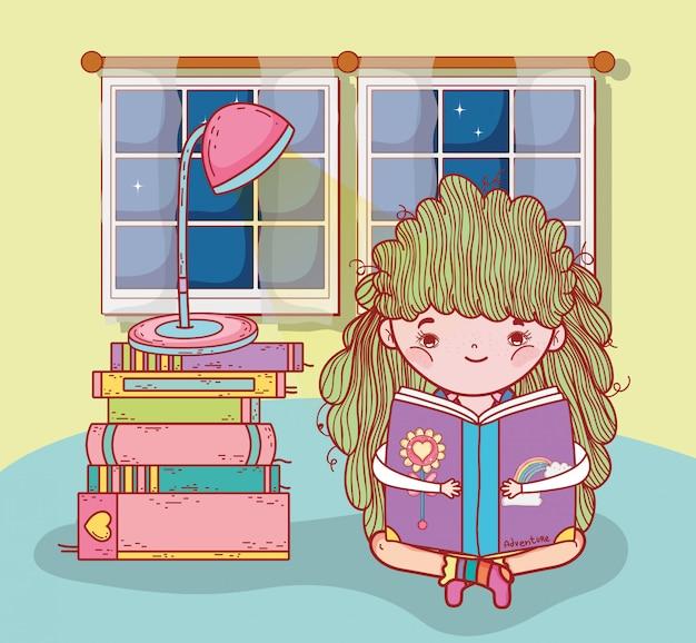 Dziewczyna czyta książki z lampą i okno Premium Wektorów