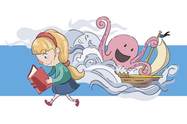 Dziewczyna czytająca Darmowych Wektorów