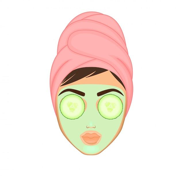 Dziewczyna dba i chroni twarz za pomocą różnych działań, twarzy, zabiegów, urody Premium Wektorów