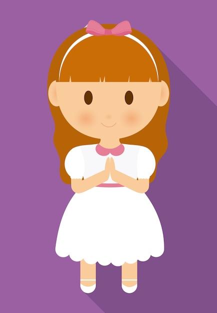 Dziewczyna Dziecko Kreskówka Biała Sukienka Ikona Premium Wektorów