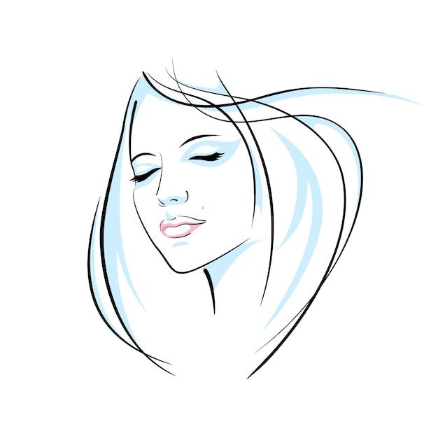 Dziewczyna Głowa Ilustracja Premium Wektorów