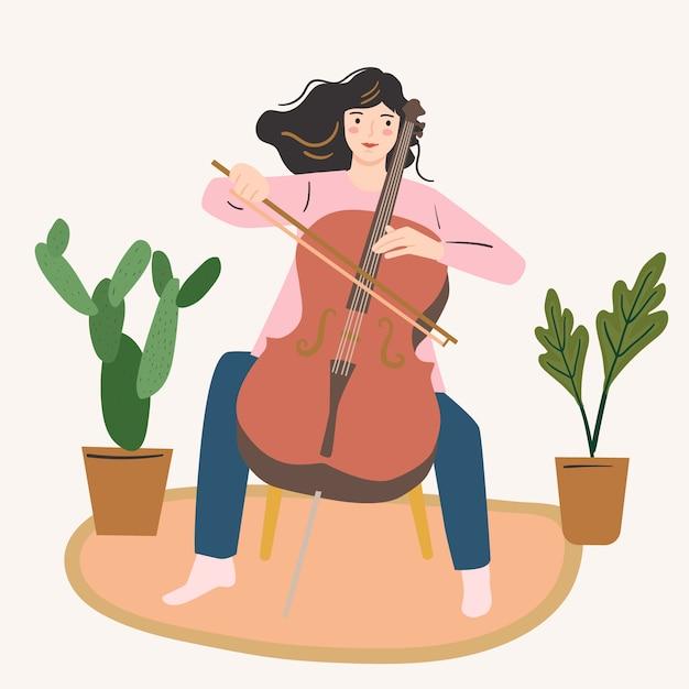 Dziewczyna Gra Na Wiolonczeli. Kobieta Muzyk, Młody Artysta. Koncepcja Kreatywności W Domu. Premium Wektorów