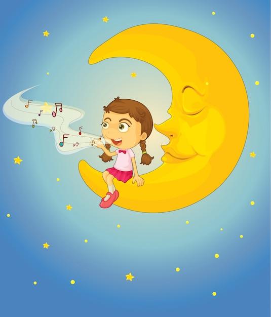Dziewczyna I Księżyc Premium Wektorów