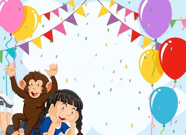 Dziewczyna I Małpa Na Partyjnym Tle Premium Wektorów
