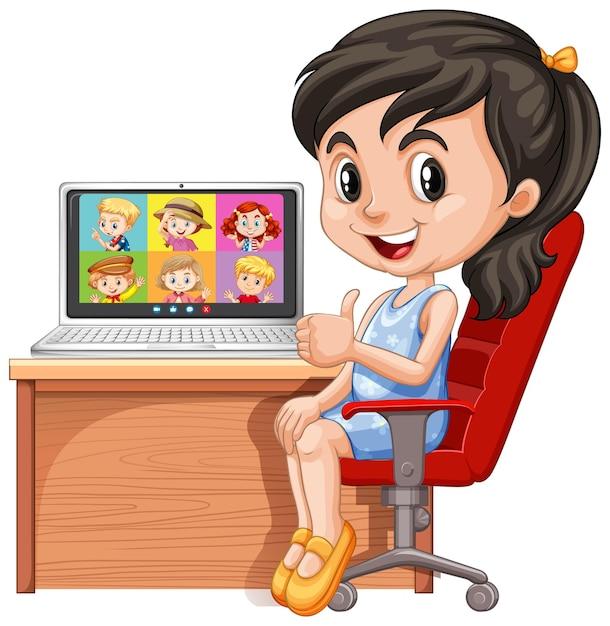 Dziewczyna Komunikuje Wideokonferencję Z Przyjaciółmi Na Białym Tle Darmowych Wektorów