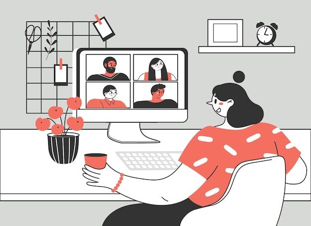 Dziewczyna Lub Kobieta Korzystająca Z Komputera Do Zbiorowego Wirtualnego Spotkania, Grupowej Wideokonferencji. Premium Wektorów
