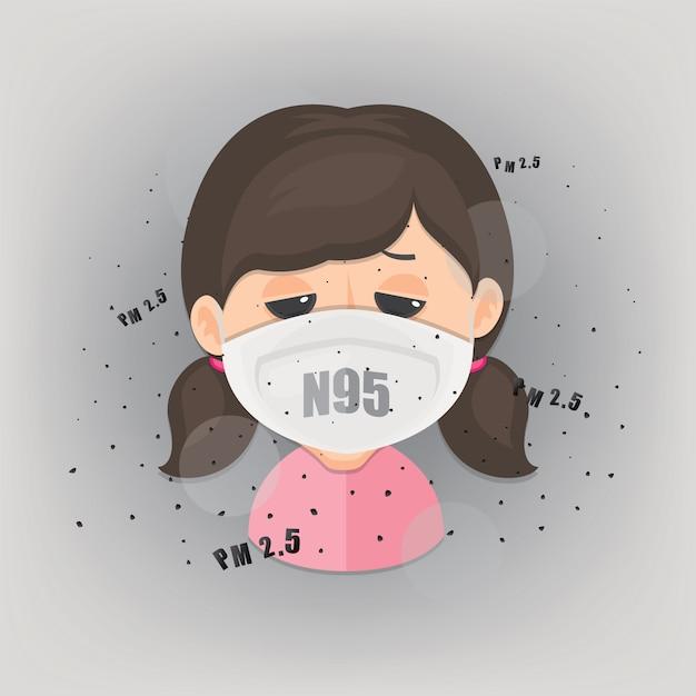 Dziewczyna Ma Na Sobie Maskę N95, Aby Chronić Zanieczyszczenia Powietrza Na Zewnątrz. Pm 2,5 W Pyłomierzu. Premium Wektorów