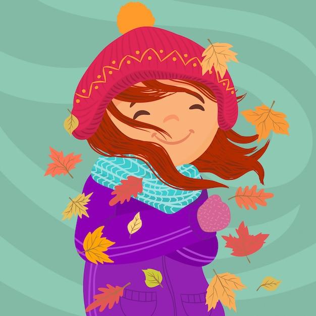 Dziewczyna marznie w bardzo wietrzny dzień Premium Wektorów