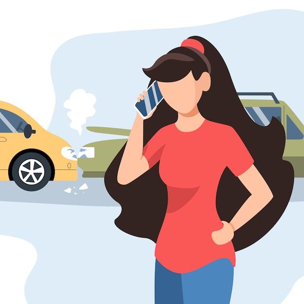 Dziewczyna Miała Wypadek Drogowy. Ubezpieczenie Motoryzacyjne. Dziewczyna Dzwoni Telefonem Komórkowym. Płaska Ilustracja. Premium Wektorów