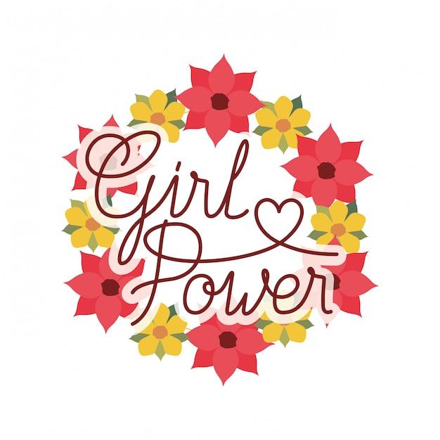 Dziewczyna moc etykiety z koroną kwiatów na białym tle ikona Premium Wektorów
