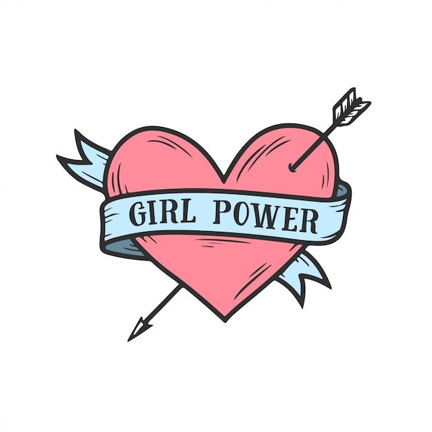 Dziewczyna Moc Ręcznie Rysowane Serce Feminizm Cytat Premium Wektorów
