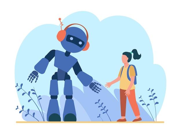 Dziewczyna Mówi Do Robota. Humanoid, Cyborg, Maszyna Płaska Ilustracja. Darmowych Wektorów
