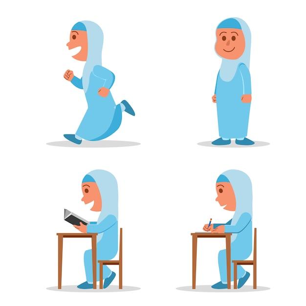 Dziewczyna Muslim School Kid Płaski Charakter Premium Wektorów