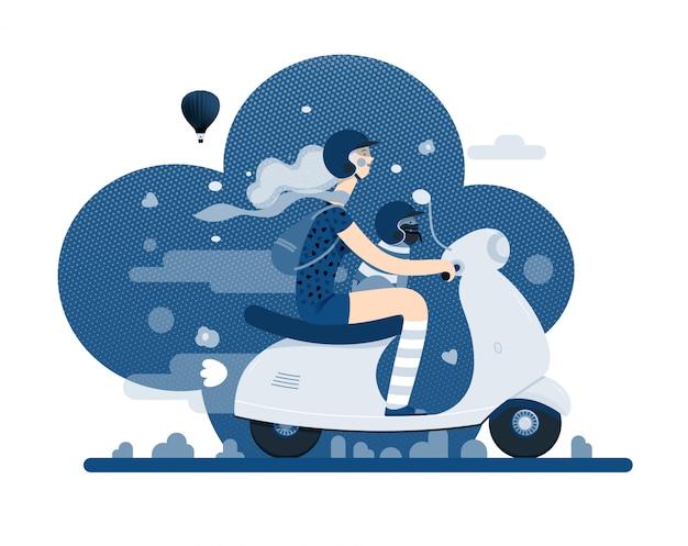 Dziewczyna na skuterze w klasycznym niebieskim kolorze Premium Wektorów