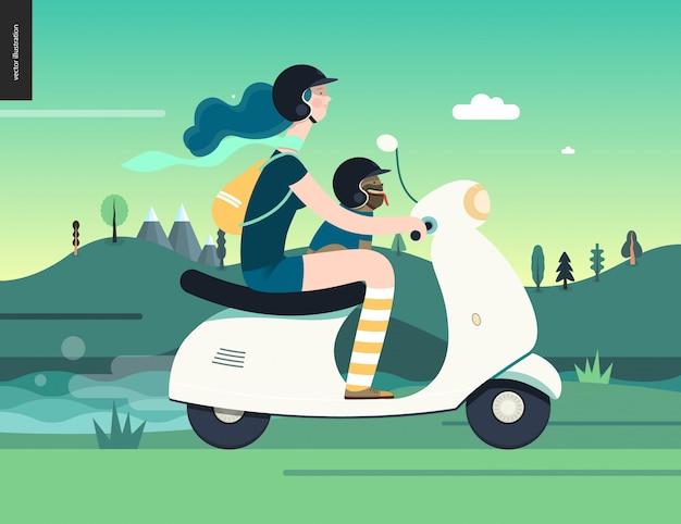 Dziewczyna na skuterze Premium Wektorów