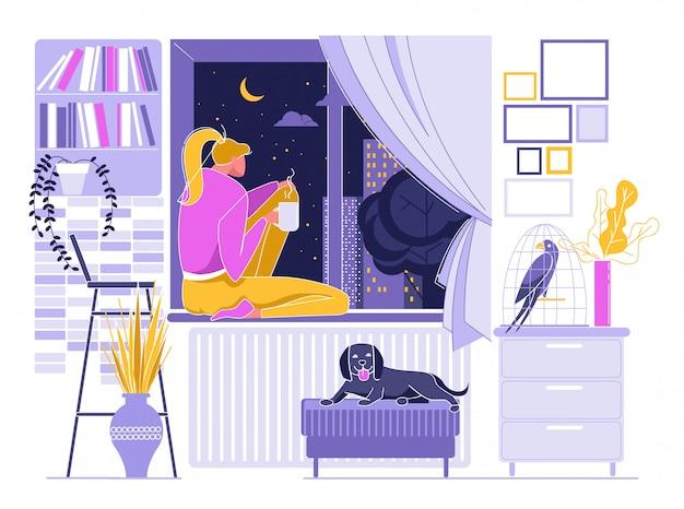 Dziewczyna pije gorącą kawę blisko okno, nocne niebo Premium Wektorów
