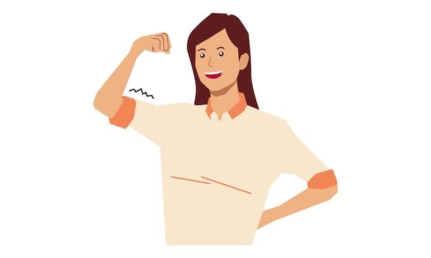 Dziewczyna Pokazuje Swoje Bicepsy Premium Wektorów