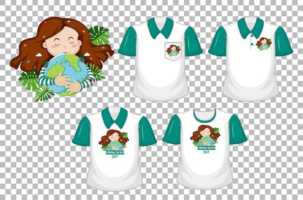 Dziewczyna Przytula Logo Ziemi I Zestaw Białej Koszuli Z Zielonymi Krótkimi Rękawami Na Przezroczystym Tle Darmowych Wektorów