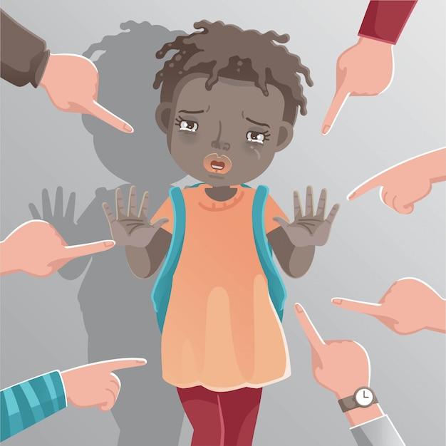 Dziewczyna Rasizm Dzieci. Afrykańska Dziewczyna Znak Stop. Premium Wektorów