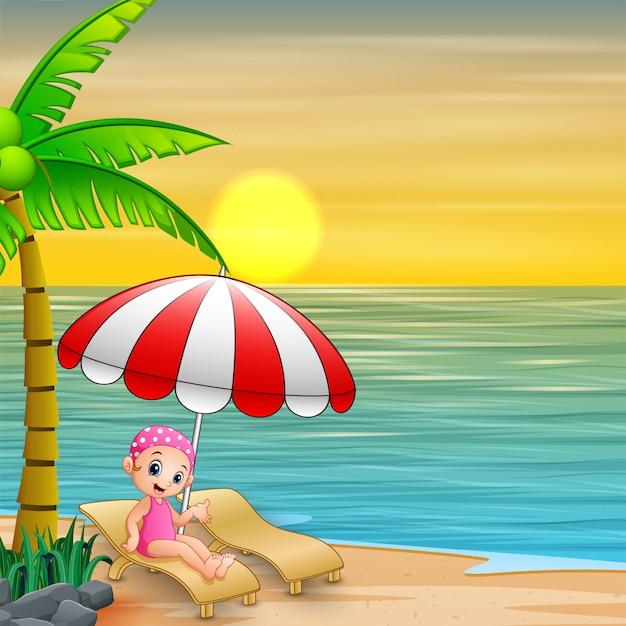 Dziewczyna relaksuje na leżaku pod parasolem przy plażą Premium Wektorów