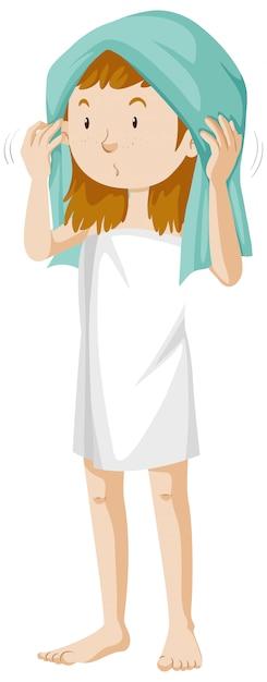 Dziewczyna Sobie Ręcznik Po Prysznic Kreskówka Na Białym Tle Darmowych Wektorów