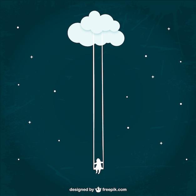 Dziewczyna Swinging Z Chmury Premium Wektorów