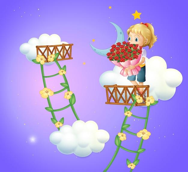 Dziewczyna trzyma bukiet róż Darmowych Wektorów