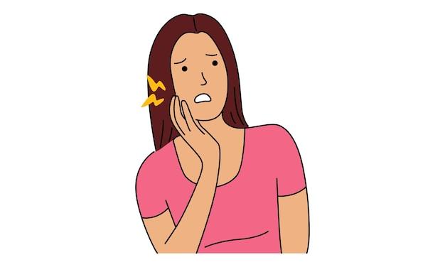 Dziewczyna Trzyma Jej Policzek Cierpiący Na Ból Zęba Premium Wektorów