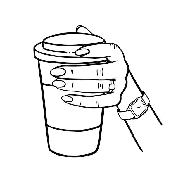 Dziewczyna Trzyma Kubek Kawy Ręcznie Rysowane Elementy Kreskówka Monochromatyczne Clip Art Wektor Zestaw Ilustracji Premium Wektorów