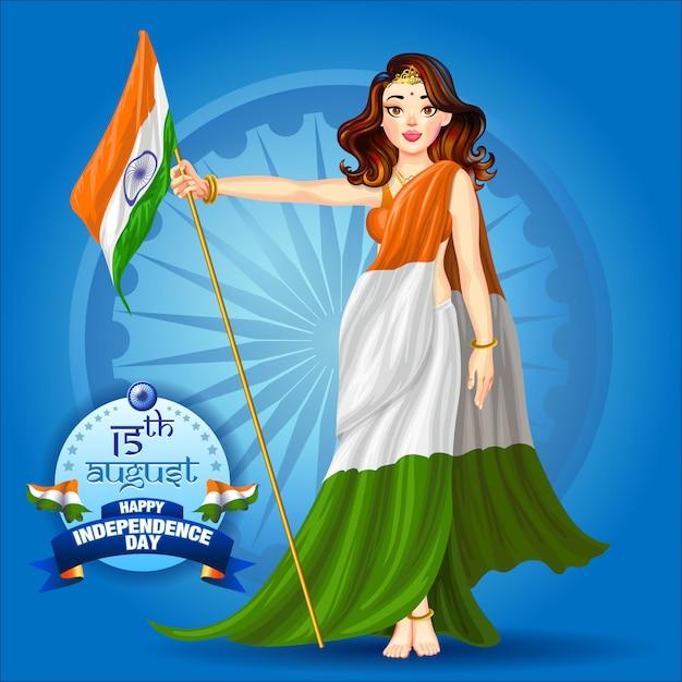 Dziewczyna trzyma plakat flagi indii Premium Wektorów