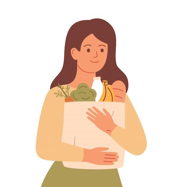 Dziewczyna Trzyma Worek Spożywczy Z Naturalnych Produktów. Koncepcja Zdrowego Odżywiania, Zero Odpadów, Zrównoważony Styl życia Premium Wektorów