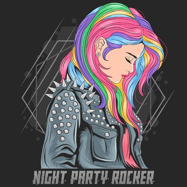 Dziewczyna Unicorn Pełen Kolor Włosów Z Rocker Jacket Punker Style Premium Wektorów