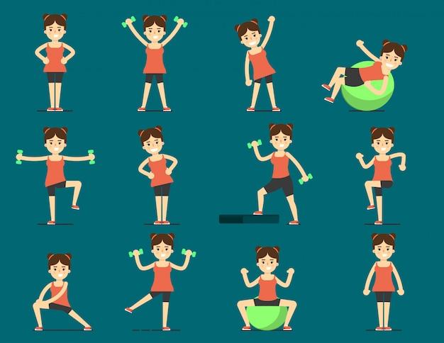 Dziewczyna uprawia sport. piękne ciało. ustaw ćwiczenie Premium Wektorów