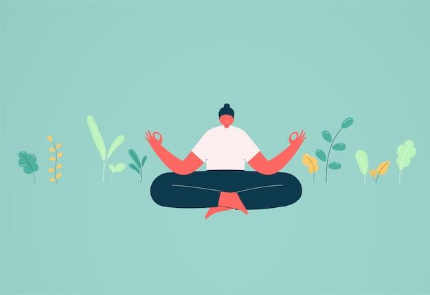 Dziewczyna W Pozycji Lotosu Medytacji. Pojęcie ładunku Energetycznego I Relaksu, Rozwiązania Biznesowe. Premium Wektorów