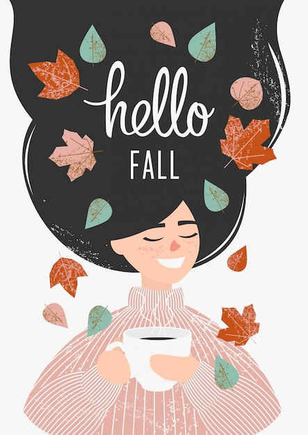 Dziewczyna w różowym swetrze pije herbatę lub kawę z jesiennych liści Premium Wektorów