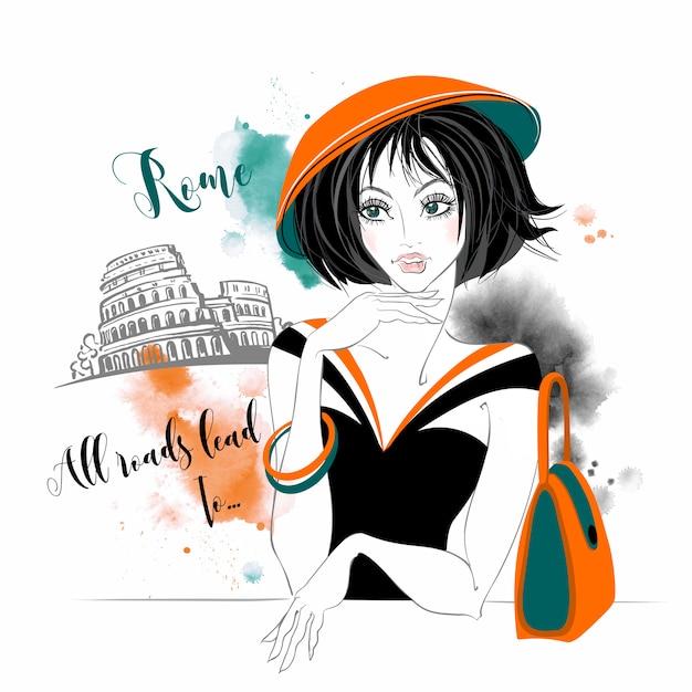 Dziewczyna w rzymie w akwarela Premium Wektorów
