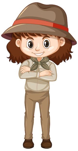 Dziewczyna W Safari Stroju Na Bielu Darmowych Wektorów