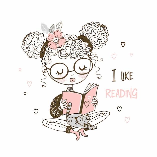 Dziewczyna z kotem czytająca książkę, lubię czytać. Premium Wektorów