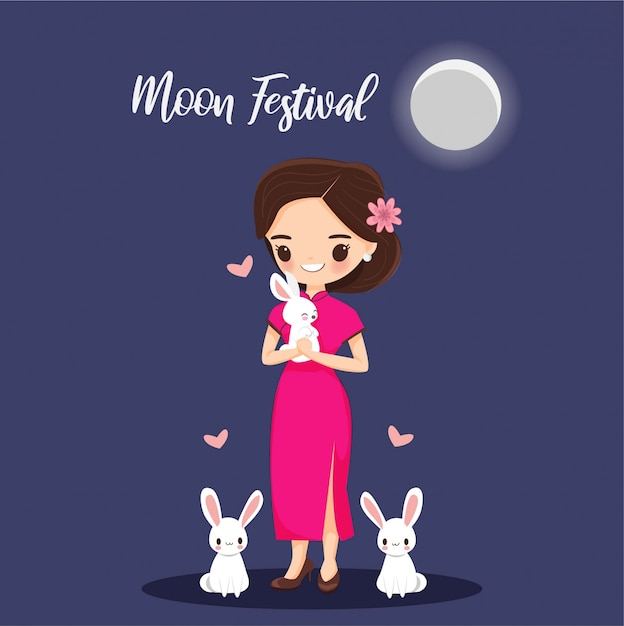Dziewczyna z królika na banner festiwalu księżyca Premium Wektorów
