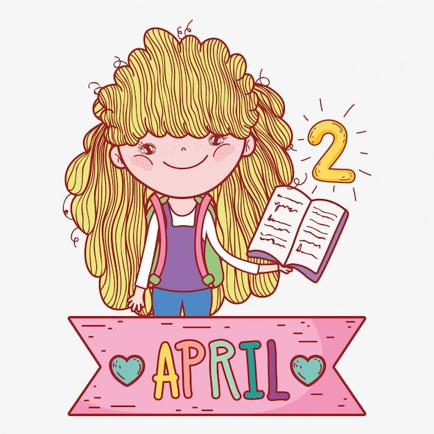 Dziewczyna z książką do nauki w dzień literatury Premium Wektorów