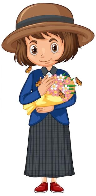 Dziewczyna Z Kwiatami I Motylami Na Bielu Darmowych Wektorów