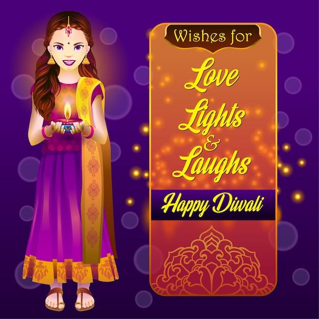 Dziewczyna Z Lampą Diwali Premium Wektorów