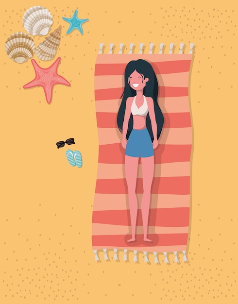 Dziewczyna Z Letnim Stroje Kąpielowe Premium Wektorów