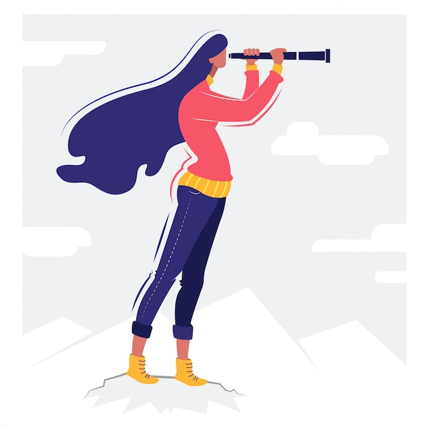 Dziewczyna z lornetki koncepcyjna ilustracja Premium Wektorów