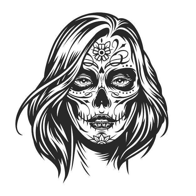 Dziewczyna Z Meksykańskiego Dnia Martwego Darmowych Wektorów