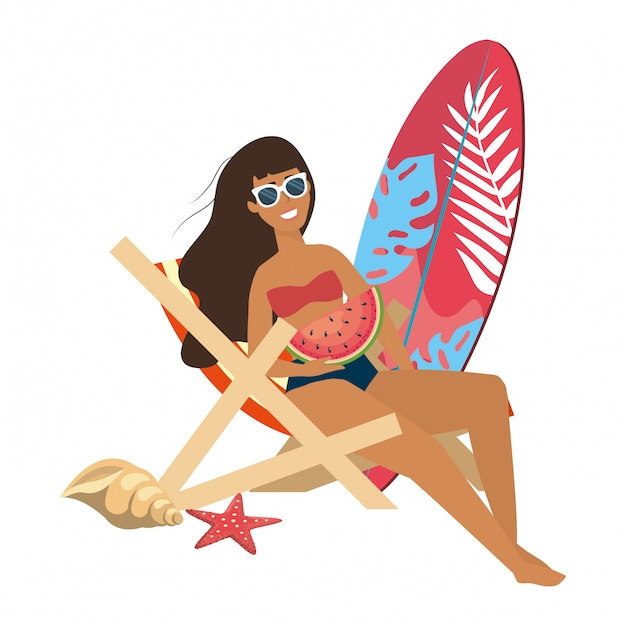 Dziewczyna Z Odzieżą Kąpielową Premium Wektorów
