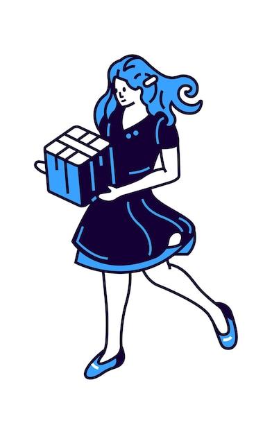 Dziewczyna Z Pudełko W Ręce, Ikona Ilustracja Izometryczny Wektor Darmowych Wektorów