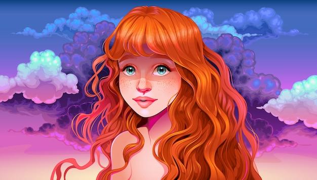 Dziewczyna Z Rude Włosy I Piegi W Zachodzie Słońca Premium Wektorów