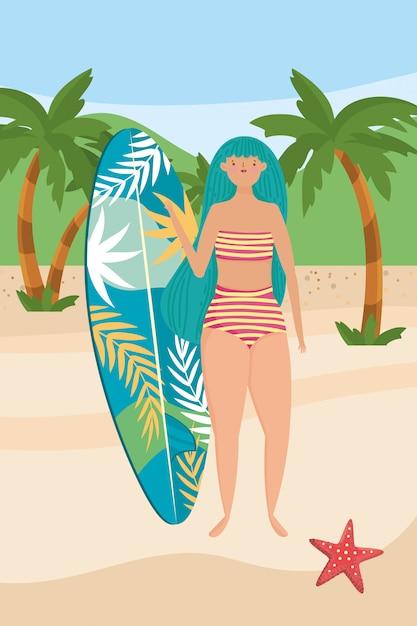 Dziewczyna z stroje kąpielowe lato Premium Wektorów
