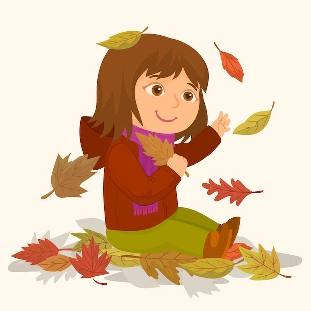 Dziewczyna z suszonymi liśćmi drzewa Premium Wektorów